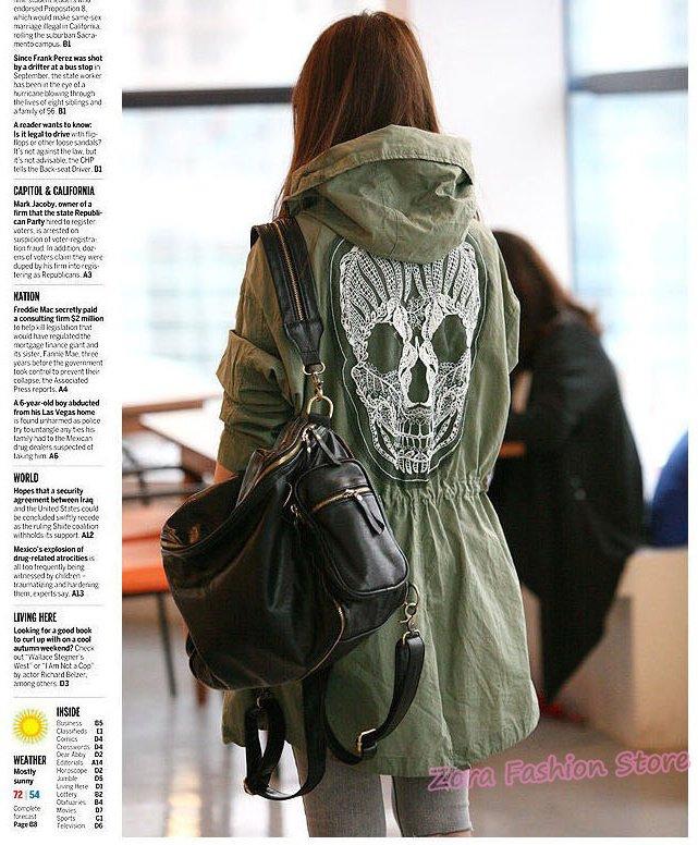 2012 New Novelty Back Lace Skull Embroidered Women Hooded Trench Coat, Western Ladies Trendy Uniform Long Windbreaker Overcoat