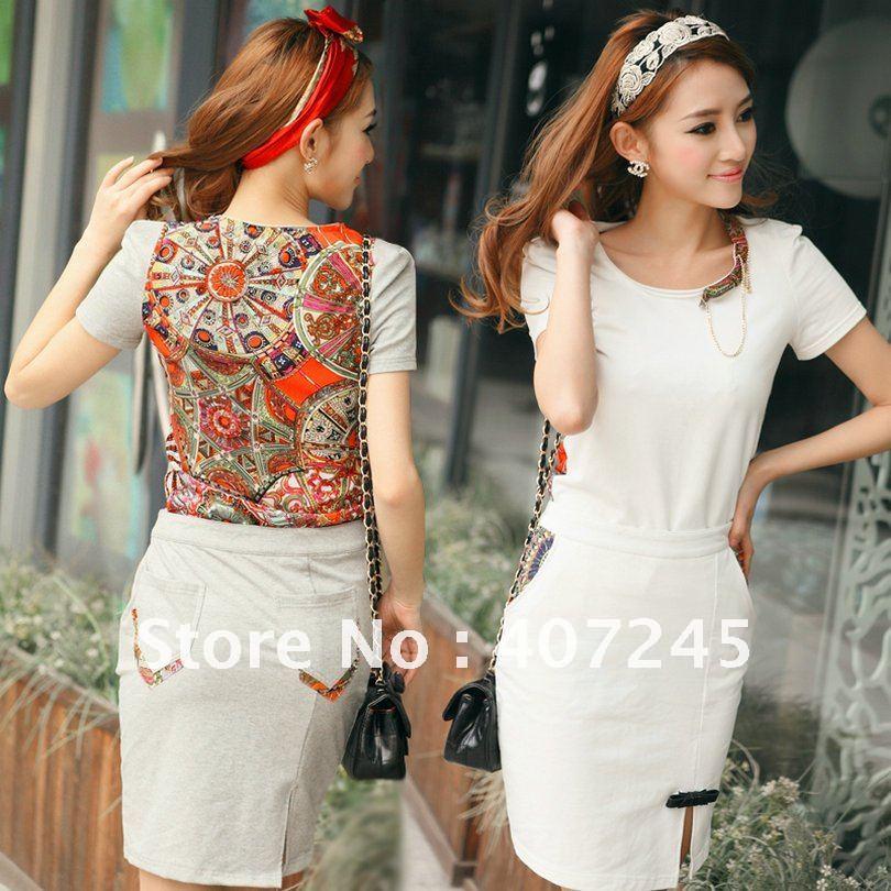 2012 new romper Women Fashion Short sleeve T shirt/Skirt Jumpsuit Scoop 2 Colors free shopping