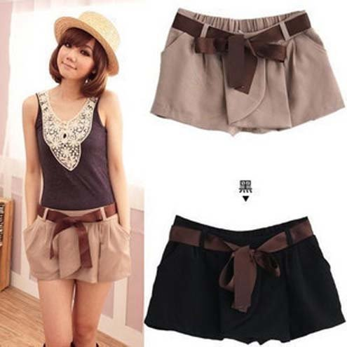 2012 New Spring Hot Fashion Small Waist Trousers Pure Color Overalls and Belt Leisure Mini Shorts Free Shipping