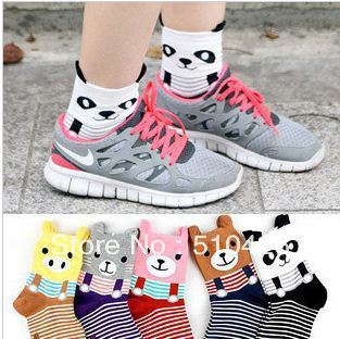 2012 new sweet candy color cartoon panda cotton socks in tube socks free shipping
