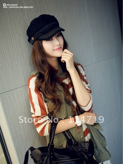 2012 NEW Winter/Spring Hot-selling Fashion women's lady's Sunbonnet lace brim woolen navy/captain cap/hat Black FREE SHIPPING