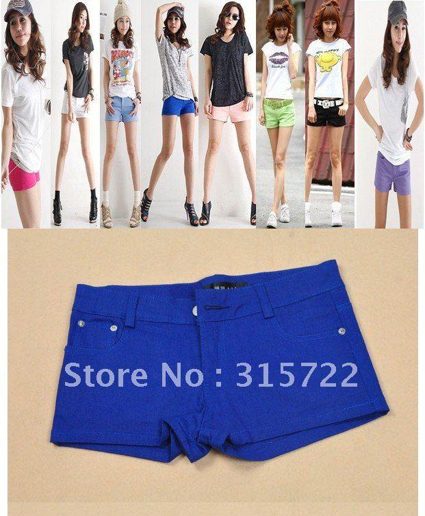2012  new women's candy color jean short overalls short pant/hot pant S,M,L,XL 10 colors  K-012