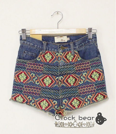 2012 New Women's Retro  Embroidered Tribal Jean Shorts Available in 3  Sizes Free Delivery