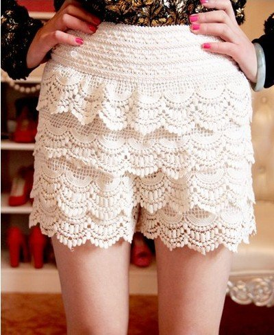 2012 Newest women's lace cake shorts,free shipping, women casual shorts ,lace pants, beige/black  accept drop-shipping618-Q2312
