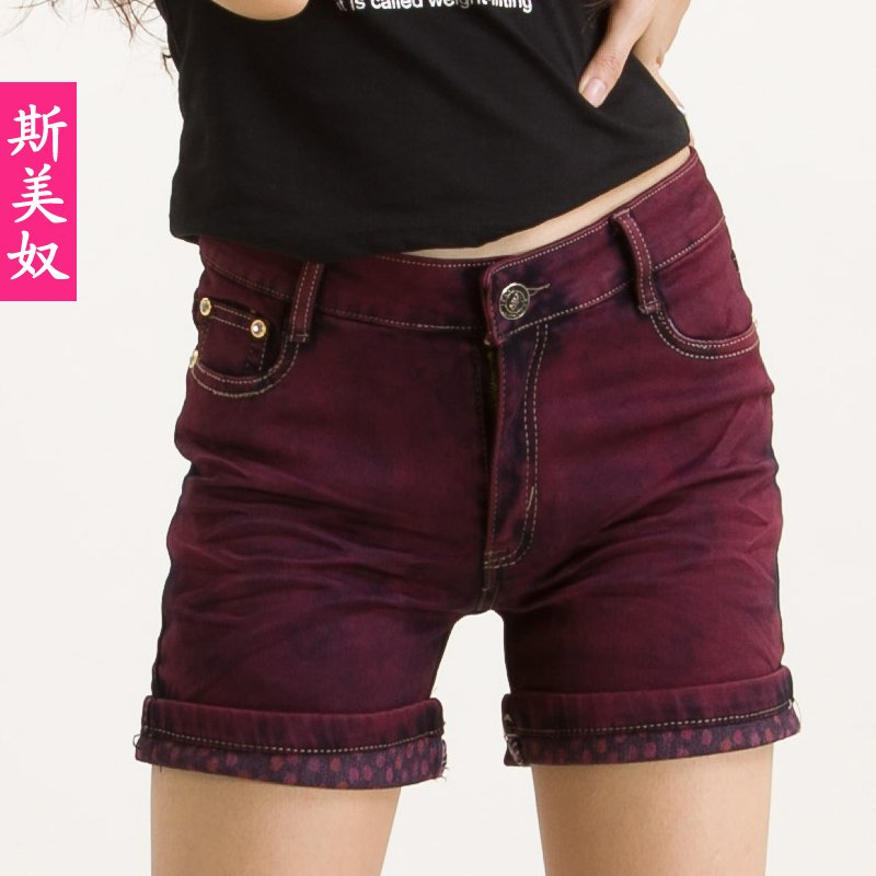 2012 pants roll up hem shorts ultra elastic shorts female plus size mid waist shorts summer thin fabric