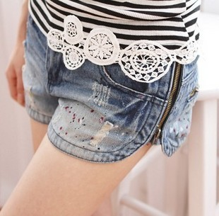 2012 side zipper distrressed women's denim shorts