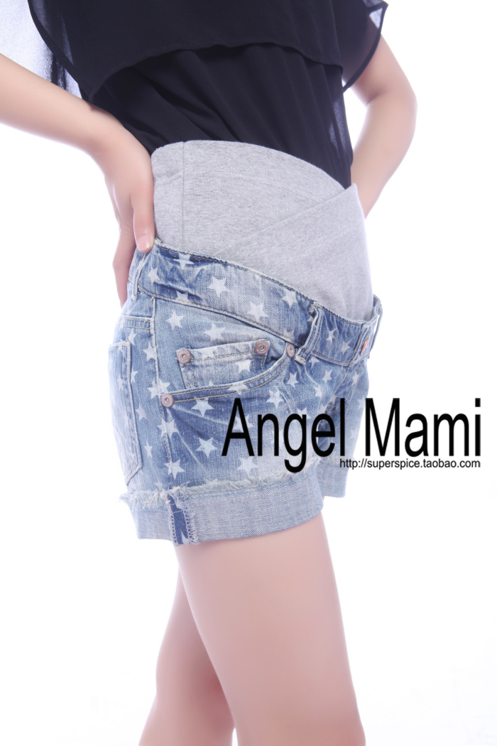 2012 slim all-match print roll up hem maternity denim shorts maternity shorts