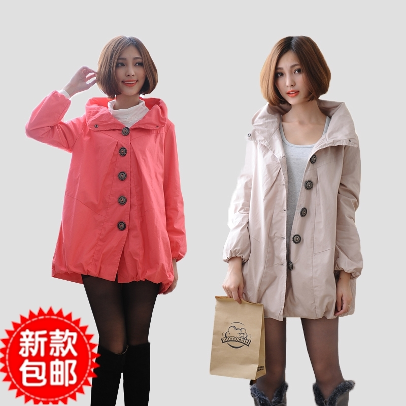 2012 spring and autumn maternity clothing style outerwear 100% cotton maternity top trench