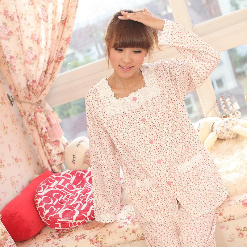 2012 spring and summer autumn sleepwear female 100% cotton long-sleeve lounge brief twinset 6976