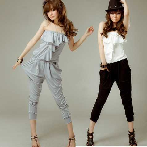 2012 spring and summer gentlewomen tube top ruffle jumpsuit mosaic slim waist jumpsuit