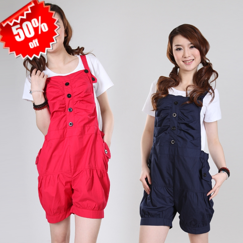 2012 spring and summer maternity clothing maternity pants 100% cotton bib pants casual pants fashion suspenders shorts