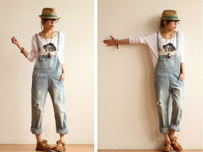 2012 spring and summer new original Japanese sweet hole washed wear white jean overalls
