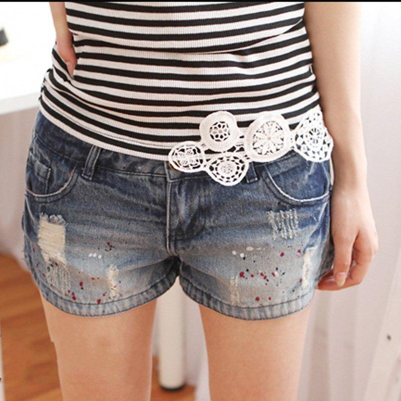2012 spring and summer women's denim shorts zipper distrressed shorts
