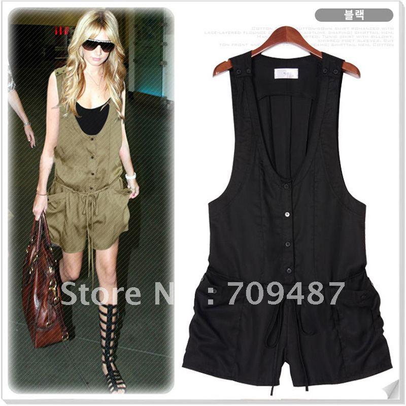 2012 spring and summer women's olive 100% cotton fashion clothing shorts sleeveless vest jumpsuit shorts