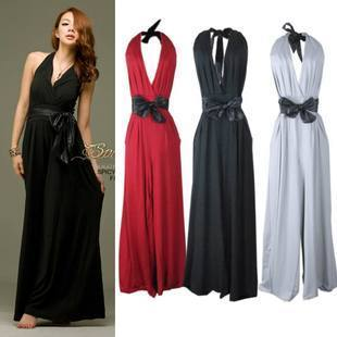 2012 spring and summer women's sexy bandage deep V-neck belt one piece trousers halter-neck jumpsuit skirt m1282