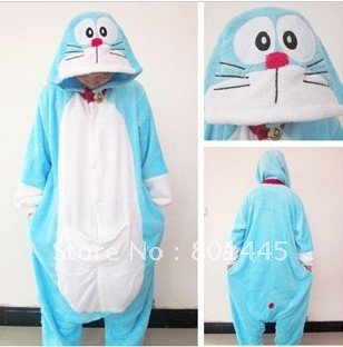 2012 Spring Autumn Doraemon design adult romper nonopnd one piece stretchy sleepers fleece for 120~185cm free shipping wholesale