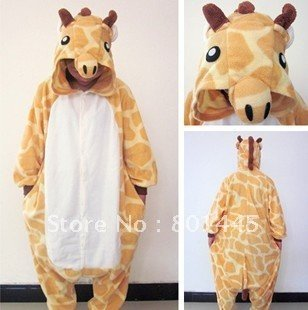 2012 Spring Autumn giraffe design adult romper nonopnd one piece stretchy sleepers polar fleece for 145~185cm free shipping