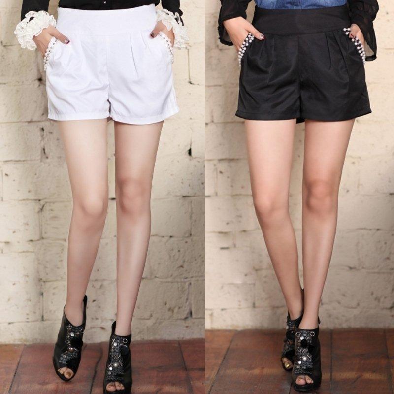 2012 spring denim fashion slim pocket beading all-match shorts black and white