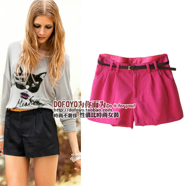 2012 spring fashion all-match candy color straight mid waist shorts women's single-shorts trend