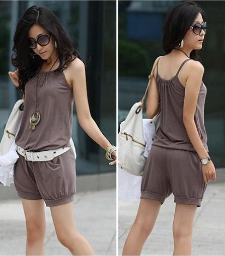2012 spring fashion Sleeveless Lady strap short Jumpsuit casual rompers 3 colors free shiping