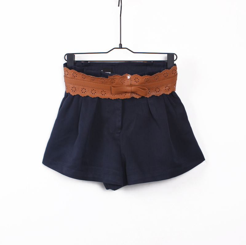 2012 spring fashion vintage pleated elastic waist shorts women's culottes with belt