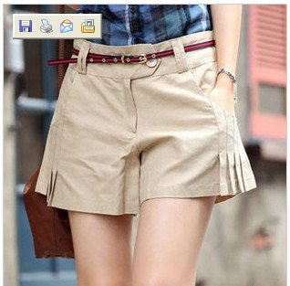 2012 spring summer yards shorts solid color breathable simple fold shorts culottes women shorts +free shipping