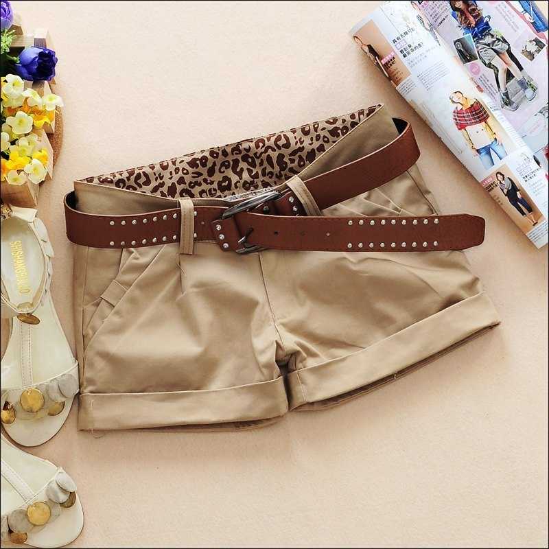 2012 spring women's 0c751 fashion all-match pocket bow leopard print casual shorts