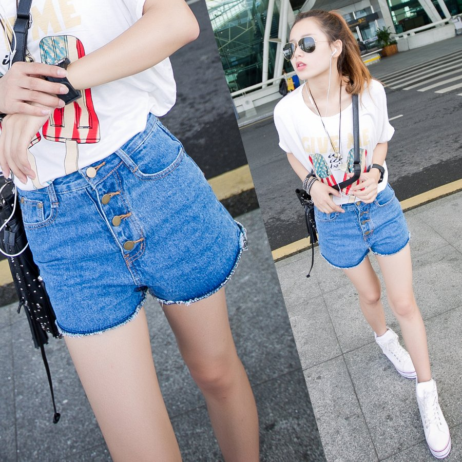 2012 summer high waist buckle casual shorts female denim shorts