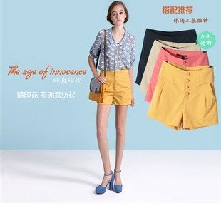 2012 summer lily high waist solid color chiffon shorts overalls shorts female