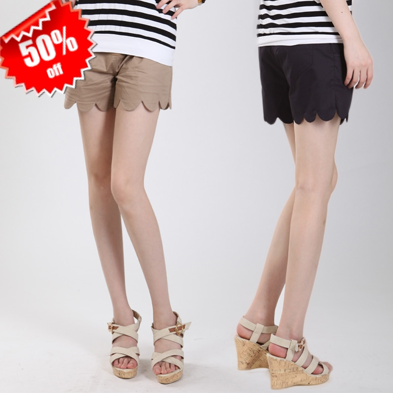 2012 summer maternity clothing fashion scalloped maternity pants belly pants 100% cotton shorts boot cut jeans