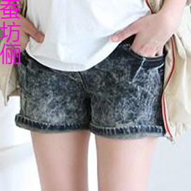 2012 summer maternity clothing maternity capris knee-length pleated pants maternity pants 025