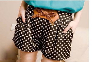2012 summer new arrival vintage Size small polka dot bow high waist shorts