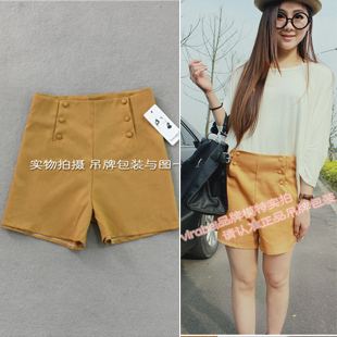 2012 summer new arrival women's Black shorts high waist slim double breasted sweet shorts