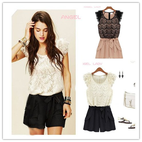 2012 summer new dress pants European and American fashion the zipper round neck skirt lace stitching Jumpsuit