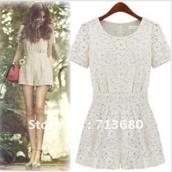 2012 summer new hot  hollow full lace collar pucker sweet fashion slim pants jumpsuits