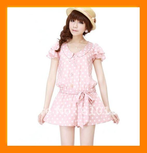 2012 summer new Korean wave point the elastic waistband Siamese shorts / jumpsuit