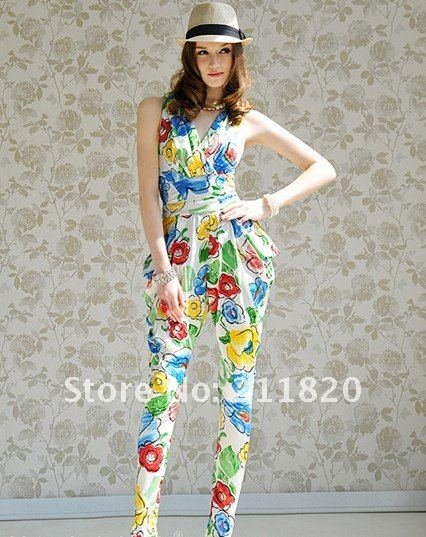 2012 summer new temperament fold vest waist Harlan, women Siamese trousers (navy blue suit, white)