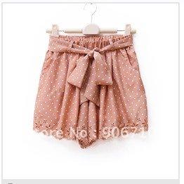 2012 summer paper cutting cutout flower high waist polka dot elastic lacing shorts culottes q-49