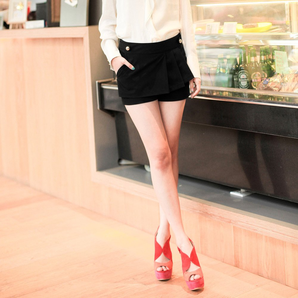 2012 summer shorts Black shorts hot trousers slim casual solid color shorts