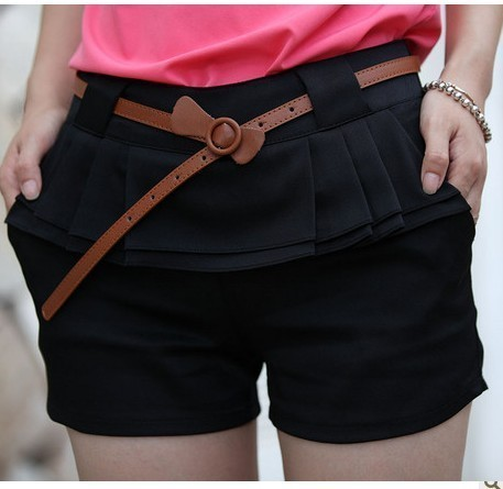 2012 summer shorts fashion all-match pleated shorts belt casual mid waist shorts