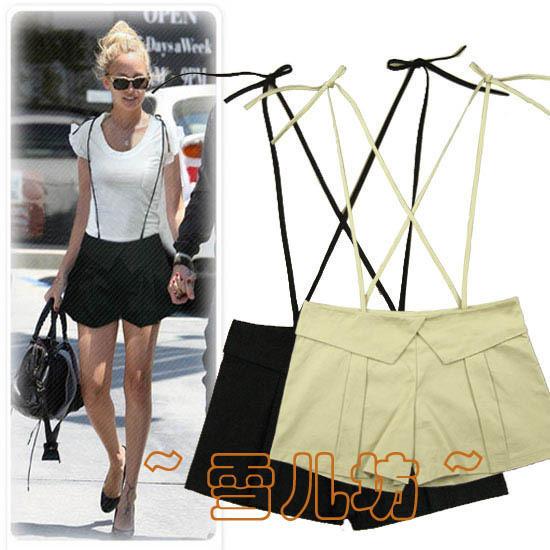 2012 summer slim spaghetti strap pants bib pants shorts khaki shorts Women