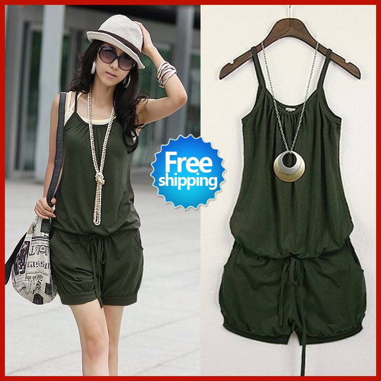 2012 Summer Women Fashion conjoined dress lady's dress Sleeveless Romper Strap Short Jumpsuit Scoop 3Colors free shopping SWS091