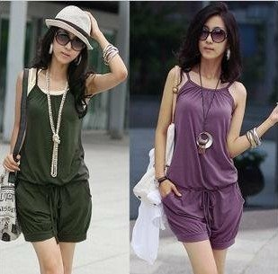 2012 Summer Women Jumpsuits Fashion Sleeveless Romper Strap Short pants Scoop 3 Colors free shipping