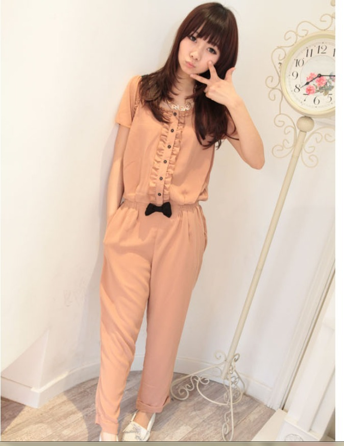 2012 summer women  ruffle hem exquisite pliableness chiffon jumpsuits and rompers