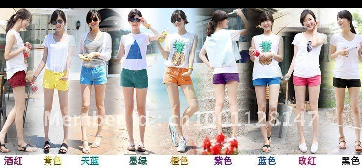 2012 summer, women's color hot pants/color shorts/candy colors shorts, sell like hot cakes, free shipping