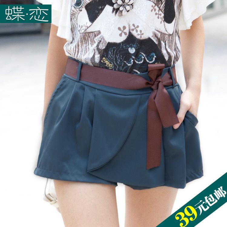 2012 summer women's female belt casual culottes skorts shorts