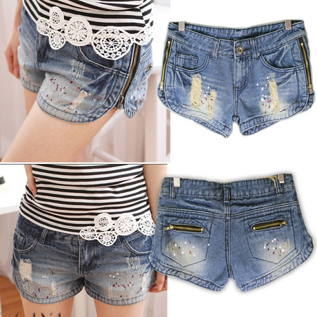 2012 summer women's side zipper denim shorts female
