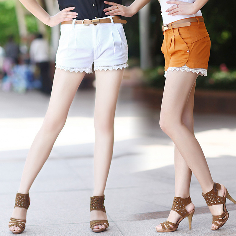 2012 summer women's vintage casual summer shorts female shorts lace laciness