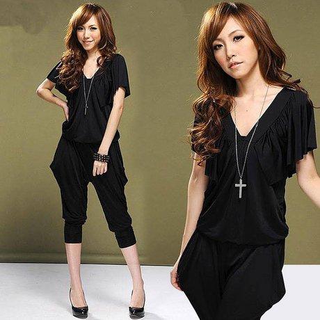 2012 Wholesale Lady's Halter Design Blouse Jumpsuit Women's jumpsuit overall Harem pants v-neck Free shipping