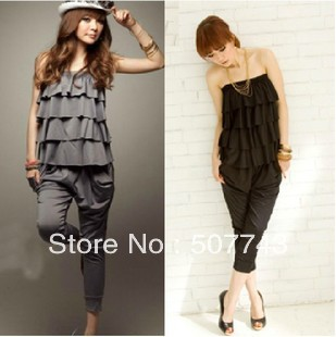 2012 Wholesale Lady's Halter Design Blouse Jumpsuit Women's jumpsuit overall Harem pants, Wrapped chest, Free shipping